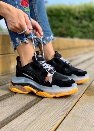 Triple clear sole black orange яркие женские чёрные жёлтые кроссовки на высокой массивной подошве жіночі кросівки чорні жовті на високій платформі