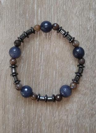 Мужской браслет из натурального камня (агат и гематит)