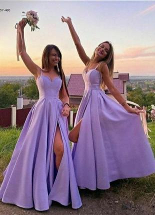 Шикарное вечернее бузковое платье в пол