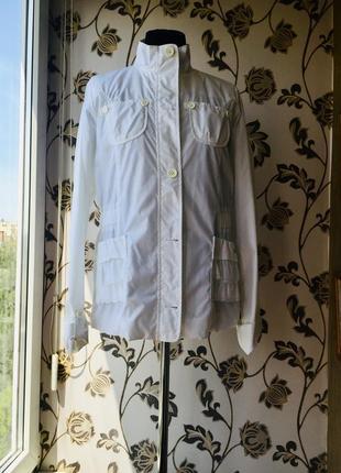 Geox италия роскошная ветровка плащевка белая указан размер 14 лет