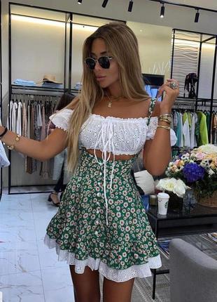 Костюм летний двойка топ + юбка софт прошва
