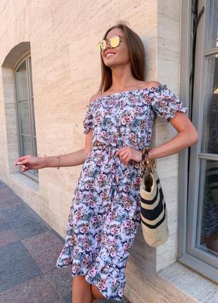 Платье летнее женское миди свободное цветочное легкое белое