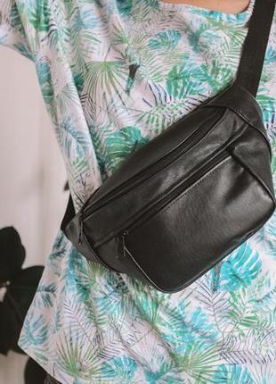 Бананка кожа шкіра замша эко-сумка на пояс ручная работа черная матовая б20
