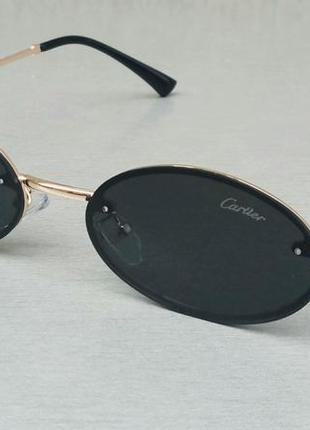 Cartier очки унисекс солнцезащитные модные узкие овальные черные в золотой металлической оправе