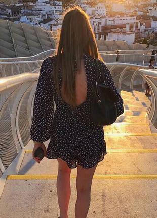 Стильный синий комбинезон в горошек с открытой спиной h&m синее платье-комбинезон в горошек