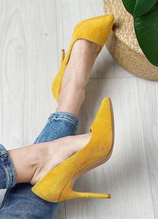 Туфли женские лодочки замшевые замша желтые