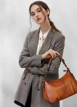 Кожаная сумка хобо багет / шкіряна сумка