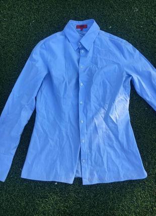Голубая рубашка hugo boss