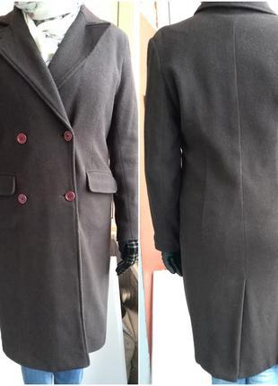 Классическое, двубортное, коричневое пальто h&m__демисезонное