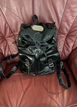 Unicco 💫лаковый чёрный рюкзак 🎒