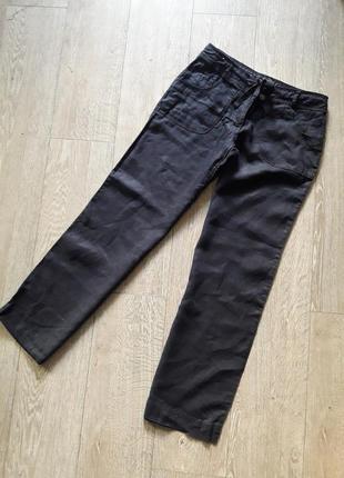 🧨брендовые брюки из льна, брюки лён, льняные брюки denim&co р.с-м