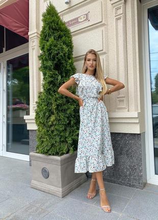 Летнее платье свободного фасона миди ниже колена