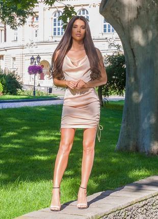 Платье летнее мини короткое женское нарядное с открытой спиной беж