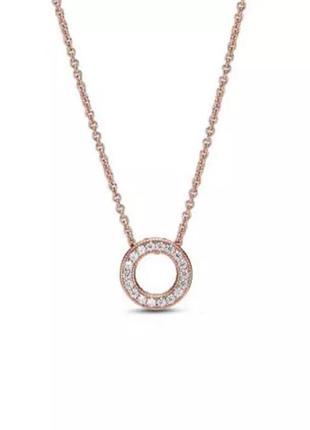 Подвеска пандора кулон цепочка ожерелье колье круг с камнями розовое золото серебро проба 925 новое с биркой