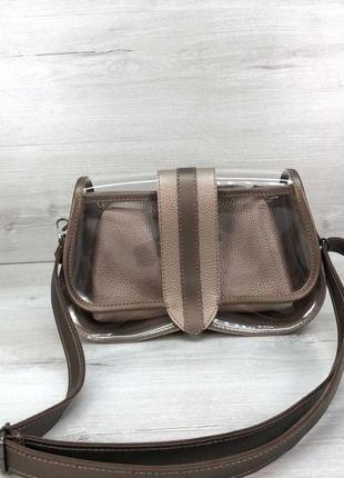Женская прозрачная сумка клатч с косметичкой 2 в 1 aliri-t64-13 золотистого цвета
