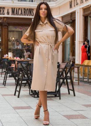 Платье летнее миди длинное женское легкое с поясом льняное лен батал