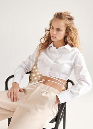 Рубашка хлопковая белая укороченая с завязками