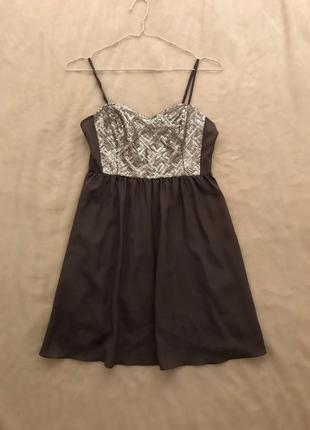 Серое платье бюстье коктейльное блестящее hm