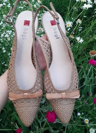 Hogl кожаные плетеные туфли лодочки мюли
