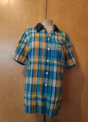 Рубашка в клетку, с отстегивающимся воротником,xl/ 2xl, 3xl/14-16
