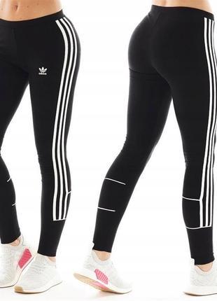 Лосины леггинсы три полоски adidas originals womens 3 stripes leggings black