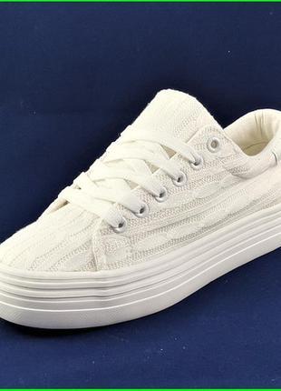 Женские кроссовки мокасины слипоны белые кеды (размеры: 39,40)