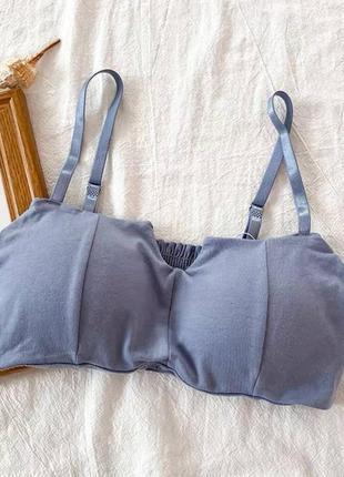 Топ с чашечками😍 мод:705 цвет: черный,белый,голубой размер: универсал 42-44 ткань: хлопок