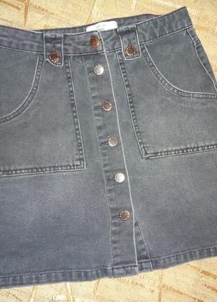 Серая джинсовая юбка new look