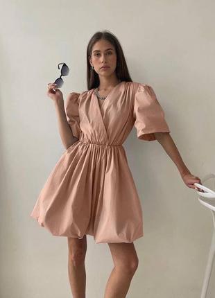 Воздушное коттоновое платье с пышной юбкой и объемными рукавами на запах легкое нарядное короткое