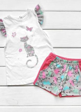 Комплект для девочки шорты и футболка с рисунком , 86 - 122 см