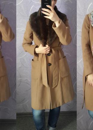Пальто пальтишко коричневое горчичное миди средняя длина reserved размер с s с мехом