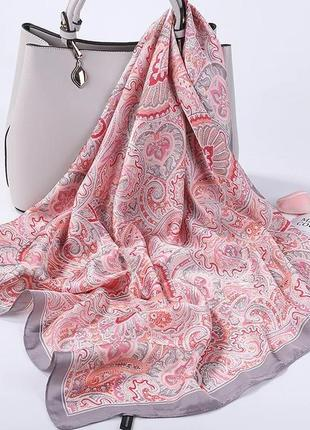 Роскошный шёлковый платок шарф розовый мягкий удобный
