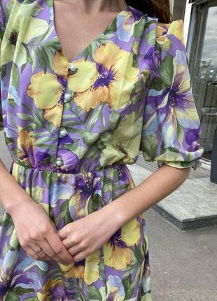 Винтажное платье  🌿принт цветы 🌟