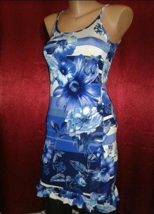 Красивое облегающие платье в цветы цветочный принт сарафан ночная рубашка ночнушка
