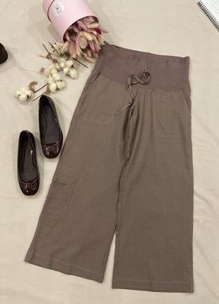 Лен льняные кюлоты брюки укоченные  в стиле zara