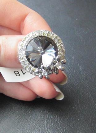🏵️эксклюзивное кольцо цветы с кристаллом, 18 р., новое! арт. 6062 фото
