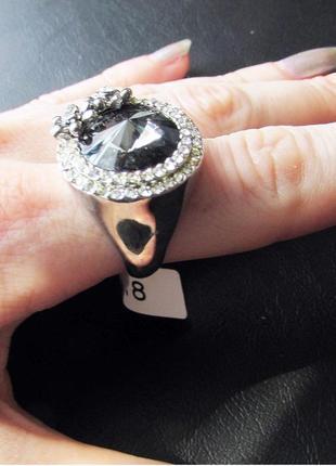 🏵️эксклюзивное кольцо цветы с кристаллом, 18 р., новое! арт. 6063 фото