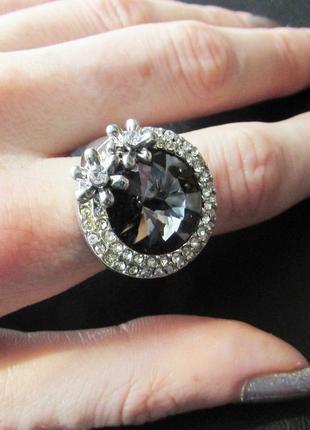 🏵️эксклюзивное кольцо цветы с кристаллом, 18 р., новое! арт. 6064 фото