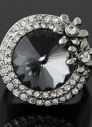 🏵️эксклюзивное кольцо цветы с кристаллом, 18 р., новое! арт. 6065 фото