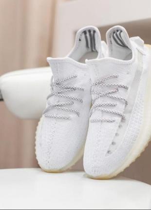 Женские кроссовки adidas yeezy boost белые