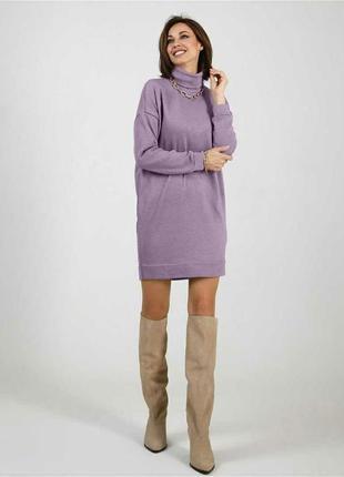 Платье свитер гольф ангора арктика