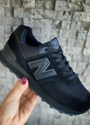 Женские кроссовки new balance 574 черные, замша и сетка