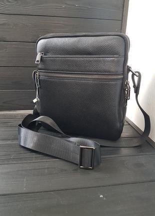 Отличная мужская сумка барсетка чёрная на три☝️отделения сумка планшет мужской мессенджер из натуральной кожи