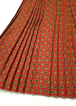 Итальянская плиссированная юбка плиссе красная с принтом р s-m