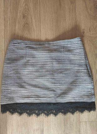 Красивая стильная трендовая твидовая юбка м л