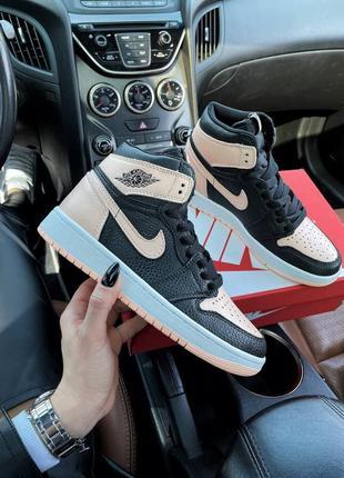 🌸 женские кроссовки nike air jordan 1 mid black pink