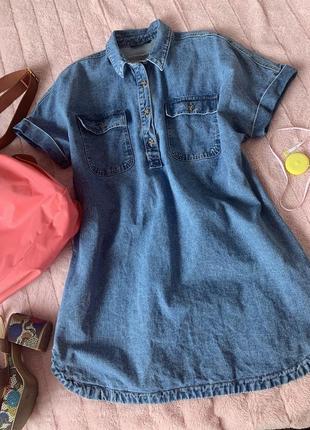 Джинсовое платье/рубашка плотный 100% cotton george xl-xxl