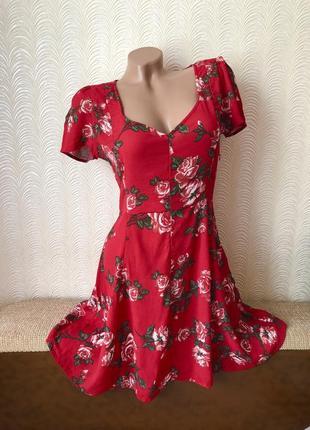 Цветочное платье красное❤️❤️❤️