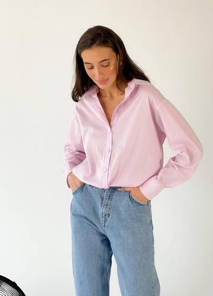 Рубашка оверсайз булавчатых розовая