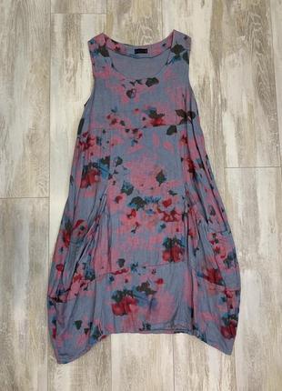 Льняное  платье 100% лён luca vanucci, италия. размер m-l.